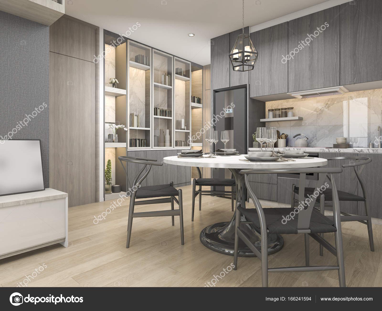 D rendering wit modern en luxe design keuken met ronde eettafel