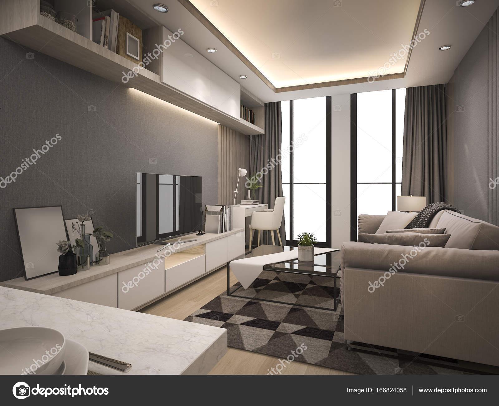 3D Rendering Luxus und modernes Wohnzimmer mit gutem Design ...