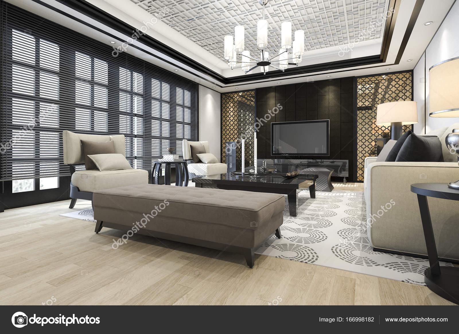 3D Rendering Luxus Und Modernes Wohnzimmer Mit Kronleuchter U2014 Stockfoto