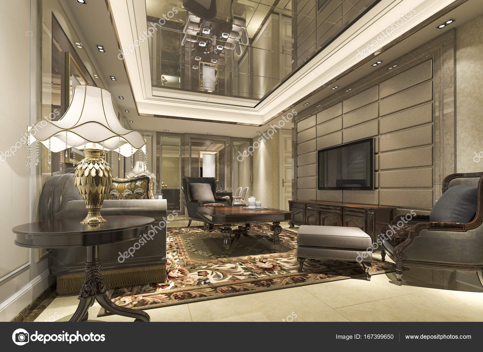 3D rendering lusso e moderno soggiorno e salotto con tavolo da ...