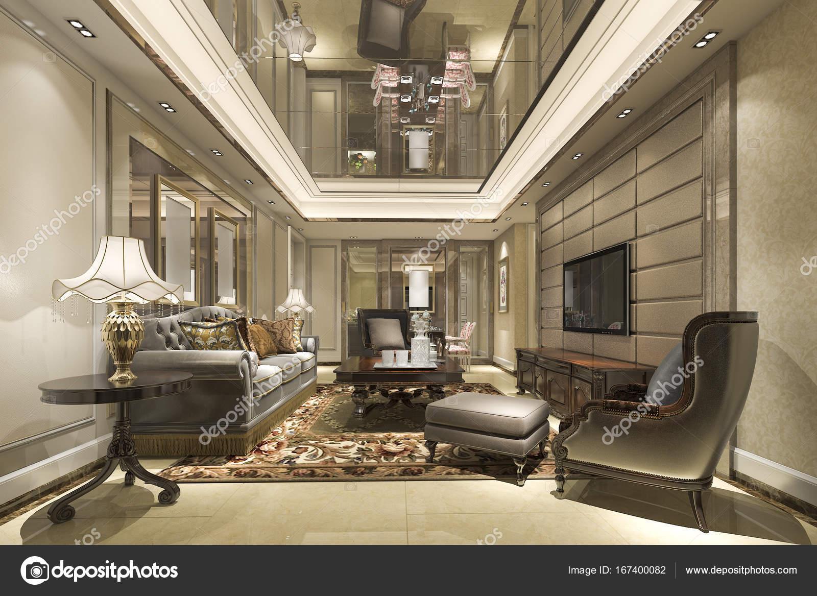 3d rendering luxe en moderne woonkamer en lounge met eettafel