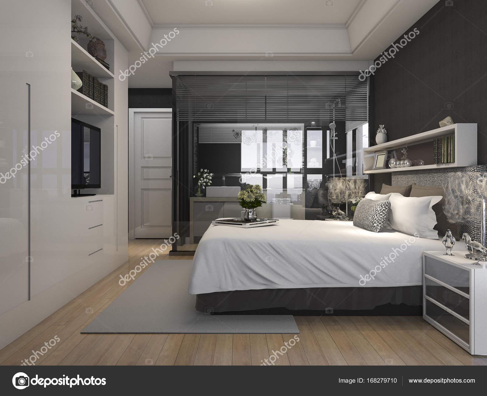 Bagno In Camera Con Vetrata : D rendering lusso suite camera da letto hotel vicino vetro bagno