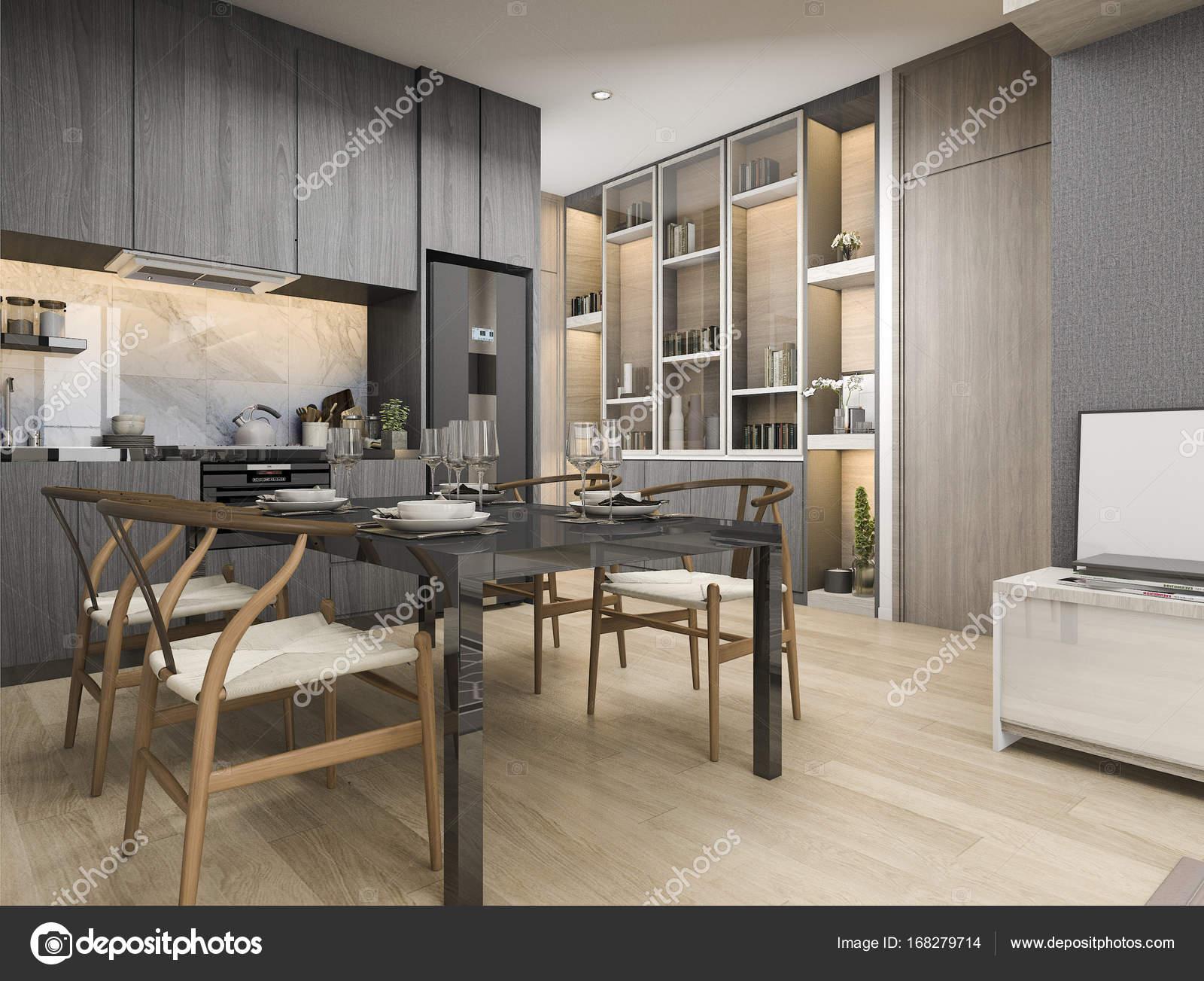 Branco De Renderiza O 3d Moderno E Design Cozinha De Luxo Com