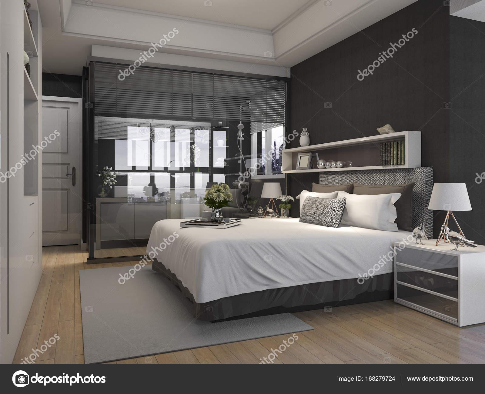 Bagno In Camera Con Vetrata : 3d rendering lusso suite camera da letto hotel vicino vetro bagno