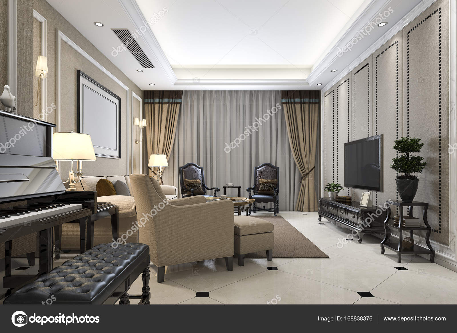 3D-weergave klassieke warme woonkamer met piano en fauteuil ...