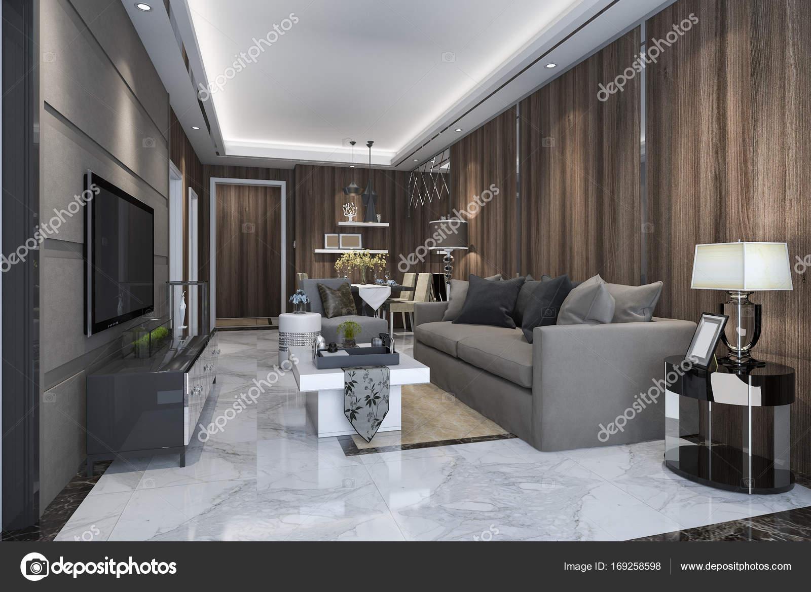 3d rendering lusso e moderno salotto con divano e tavolo for Salotto con tavolo da pranzo