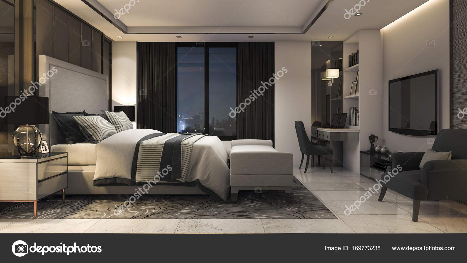 3D Rendering moderne Luxus Schlafzimmersuite im Hotel mit Dekor ...