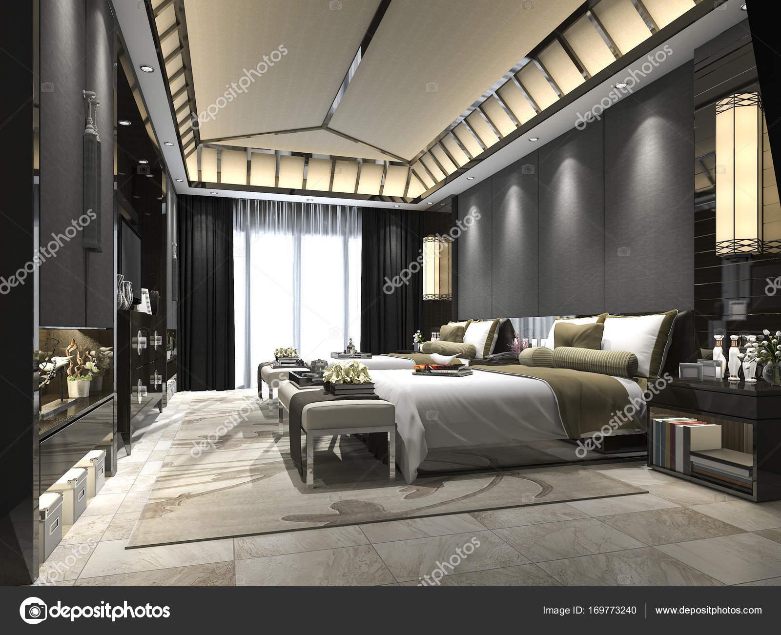 suite di camera da letto tropicale 3D rendering lusso in hotel ...