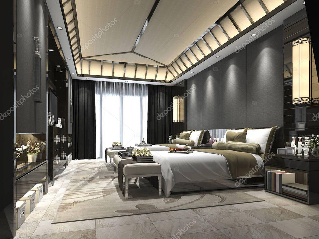 Suite di camera da letto tropicale 3d rendering lusso in for Camere da letto arredate da architetti