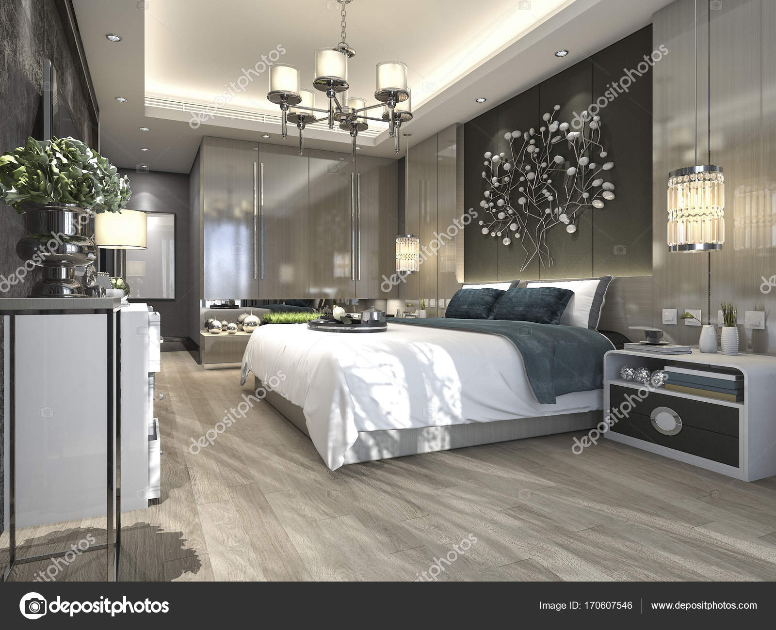 Interior Design Camera Da Letto.3d Rendering Luxury Modern Bedroom Suite In Hotel Stock Photo