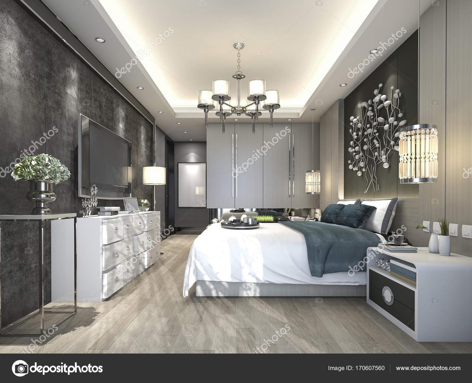 3d rendering luxe moderne slaapkamer suite in hotel stockfoto