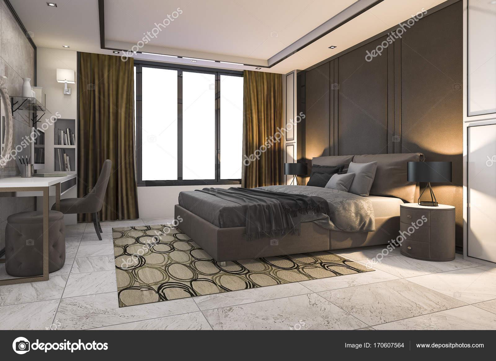 Arredamento Camera Da Letto Marrone : Camera da letto lusso marrone di rendering 3d con arredamento
