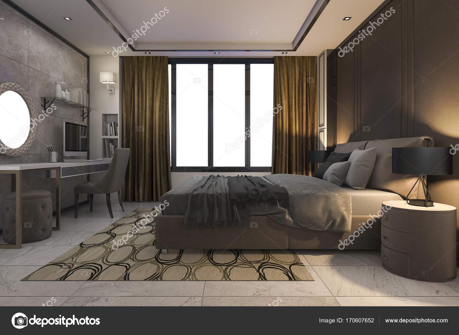 Luxe Slaapkamer Inrichting : D rendering bruin luxe slaapkamer met moderne inrichting