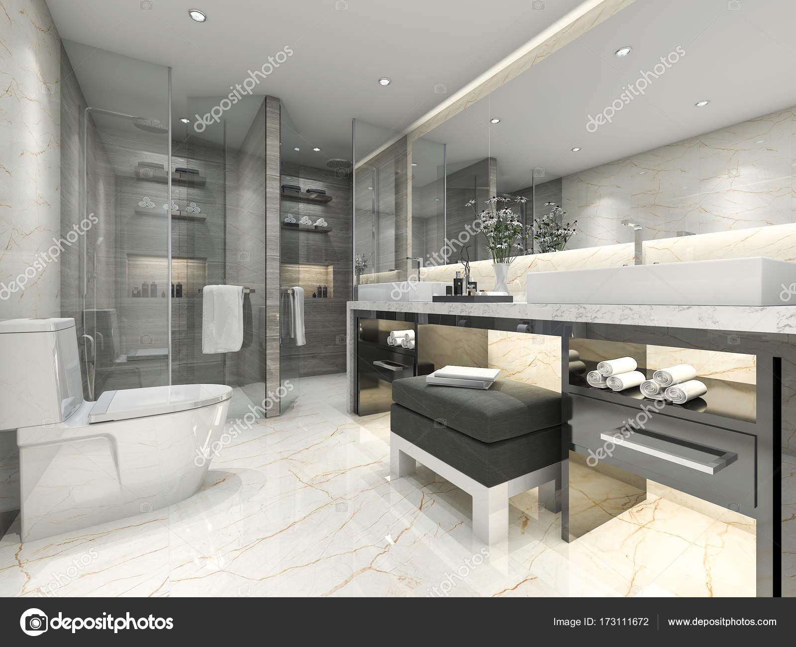 3D Rendu Classique Salle De Bains Moderne Avec Luxe Carrelage Décorationu2013  Images De Stock Libres De Droits