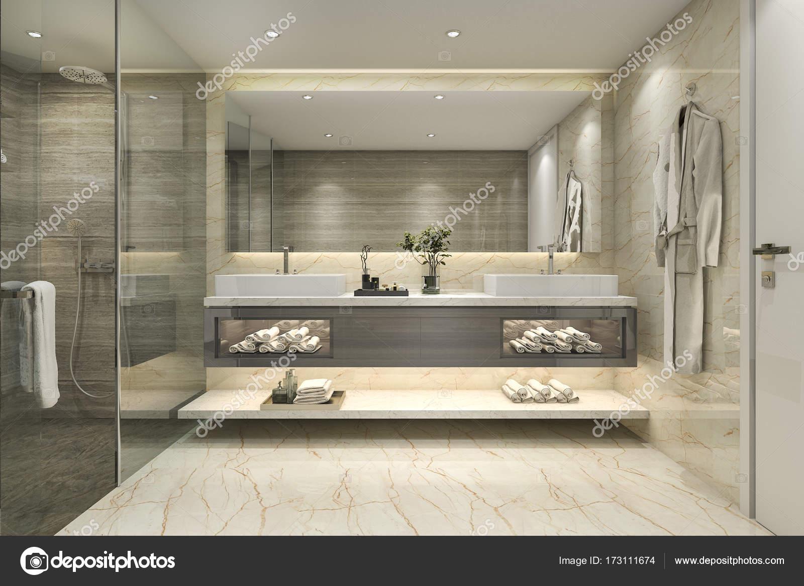 Cuartos de baño lujosos | 3D representación clásico cuarto de baño ...
