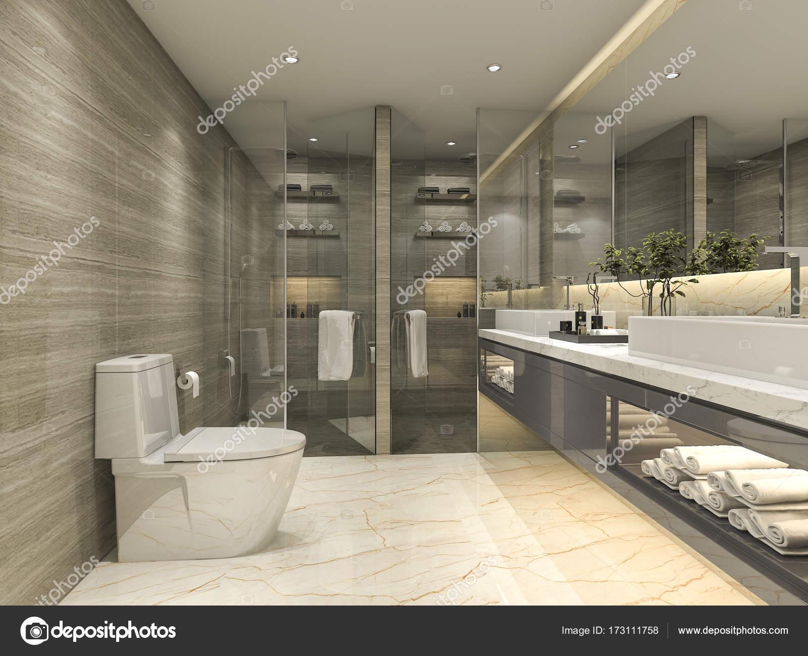 3D representación clásico cuarto de baño moderno con lujo ...