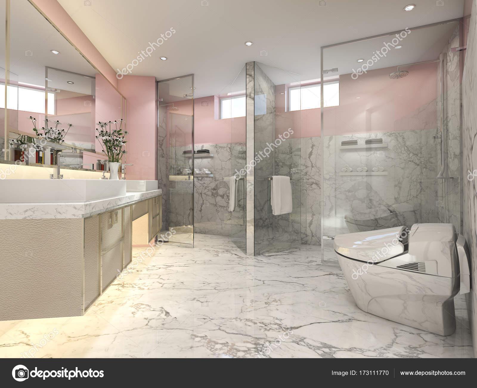 Stanza da bagno vintage moderno a 3d rendering rosa con decorazioni
