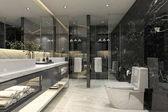3D rendering modern fekete fürdőszoba luxus csempe dekor