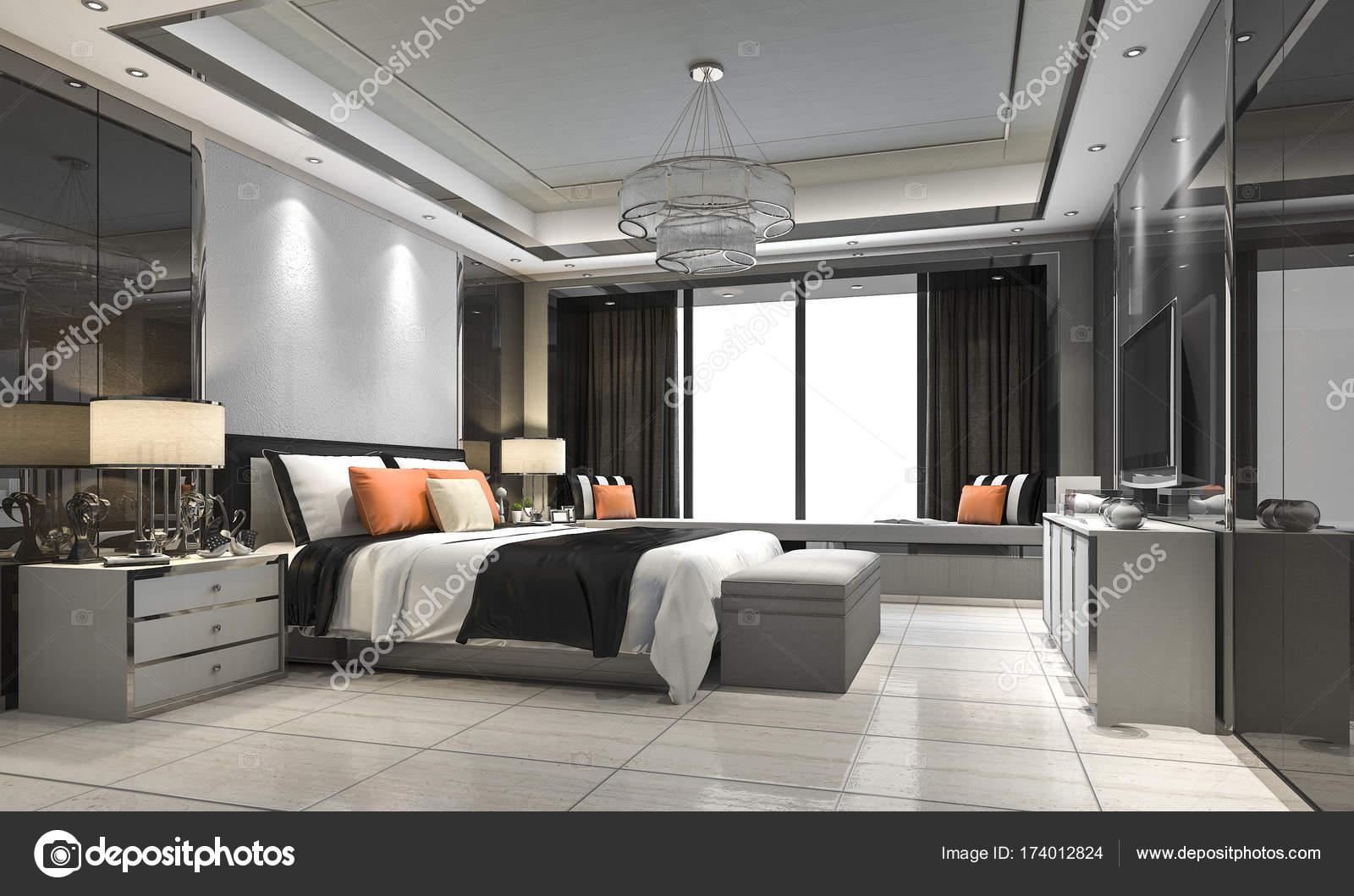 suite camera da letto di lusso moderno rendering 3D in hotel con un ...
