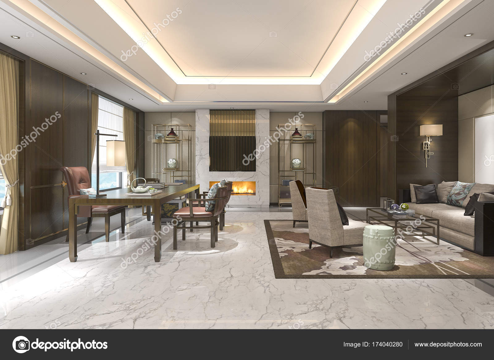 3D Rendering chinesische klassische Wohnzimmer mit ...