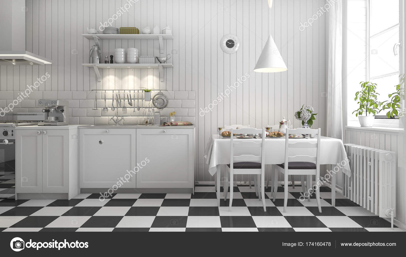 3D Rendu Belle Cuisine Scandinave Avec Décor De Carrelage Noiru2013 Images De  Stock Libres De Droits