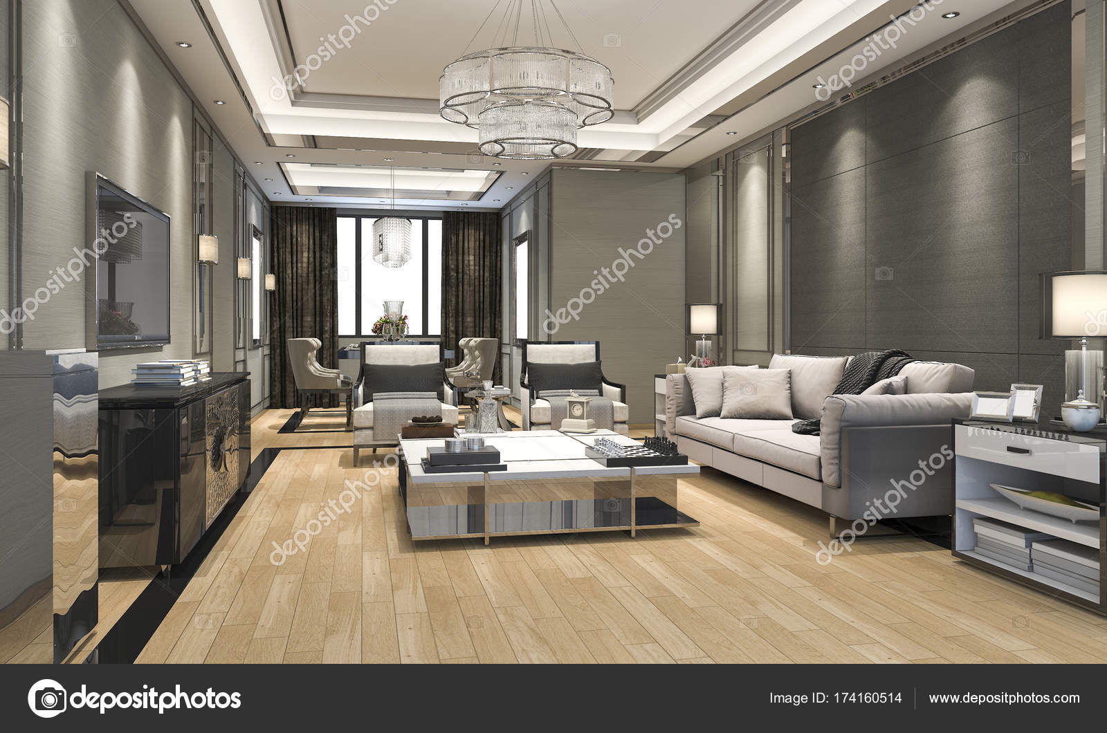 3d Rendering Luxury And Modern Living Room And Dining Room U2014 Stock Photo