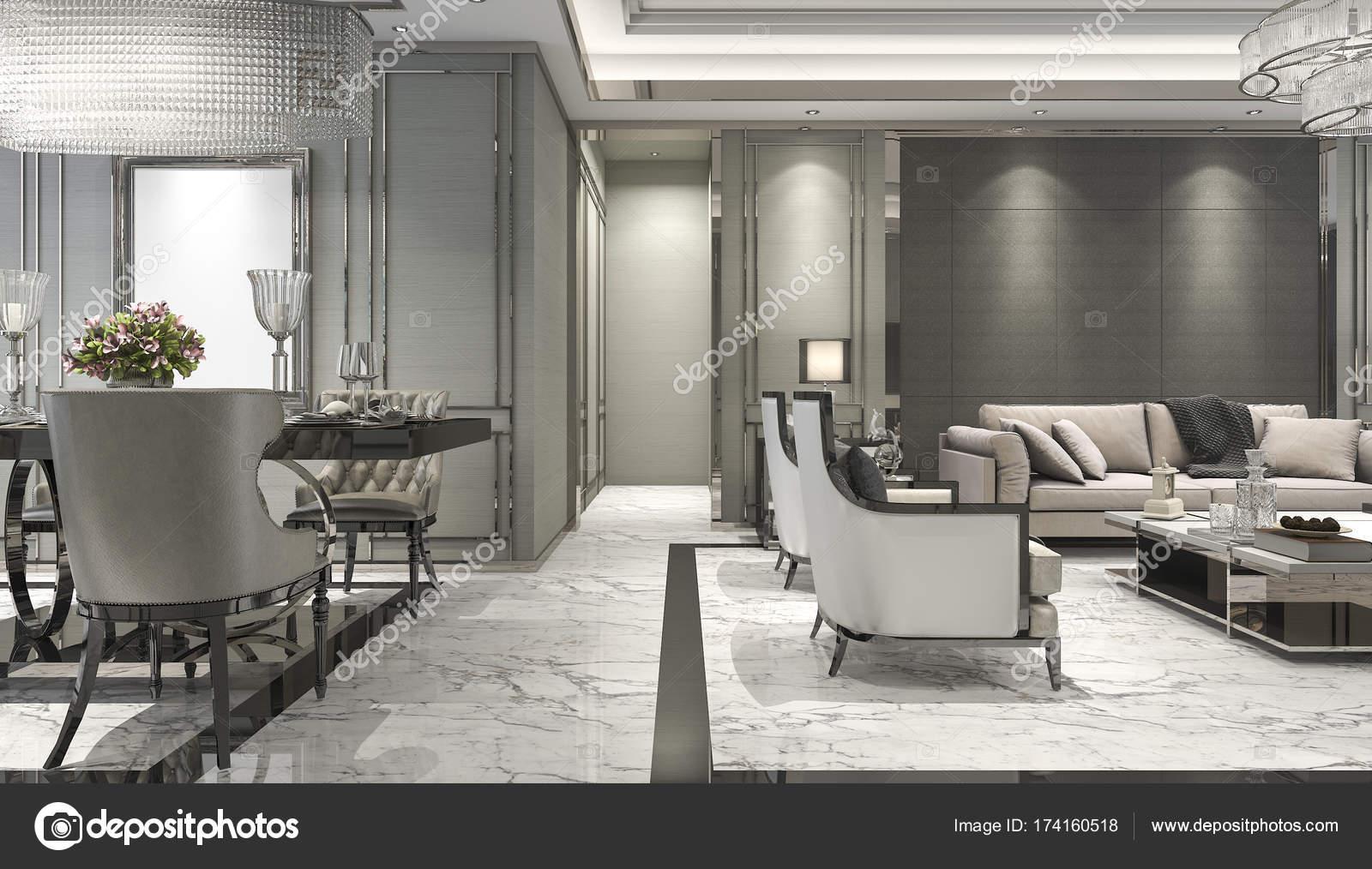 D rendering van luxe en moderne woonkamer en eetkamer u stockfoto