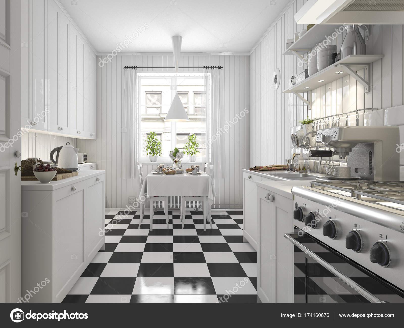 Tegels Keuken Scandinavisch : D rendering van prachtige scandinavische keuken met zwarte tegel