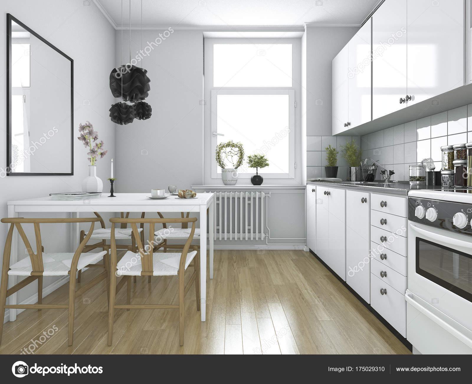 Captivant 3D Cuisine Vintage Scandinave Rendu Avec Table à Manger U2014 Image De ...