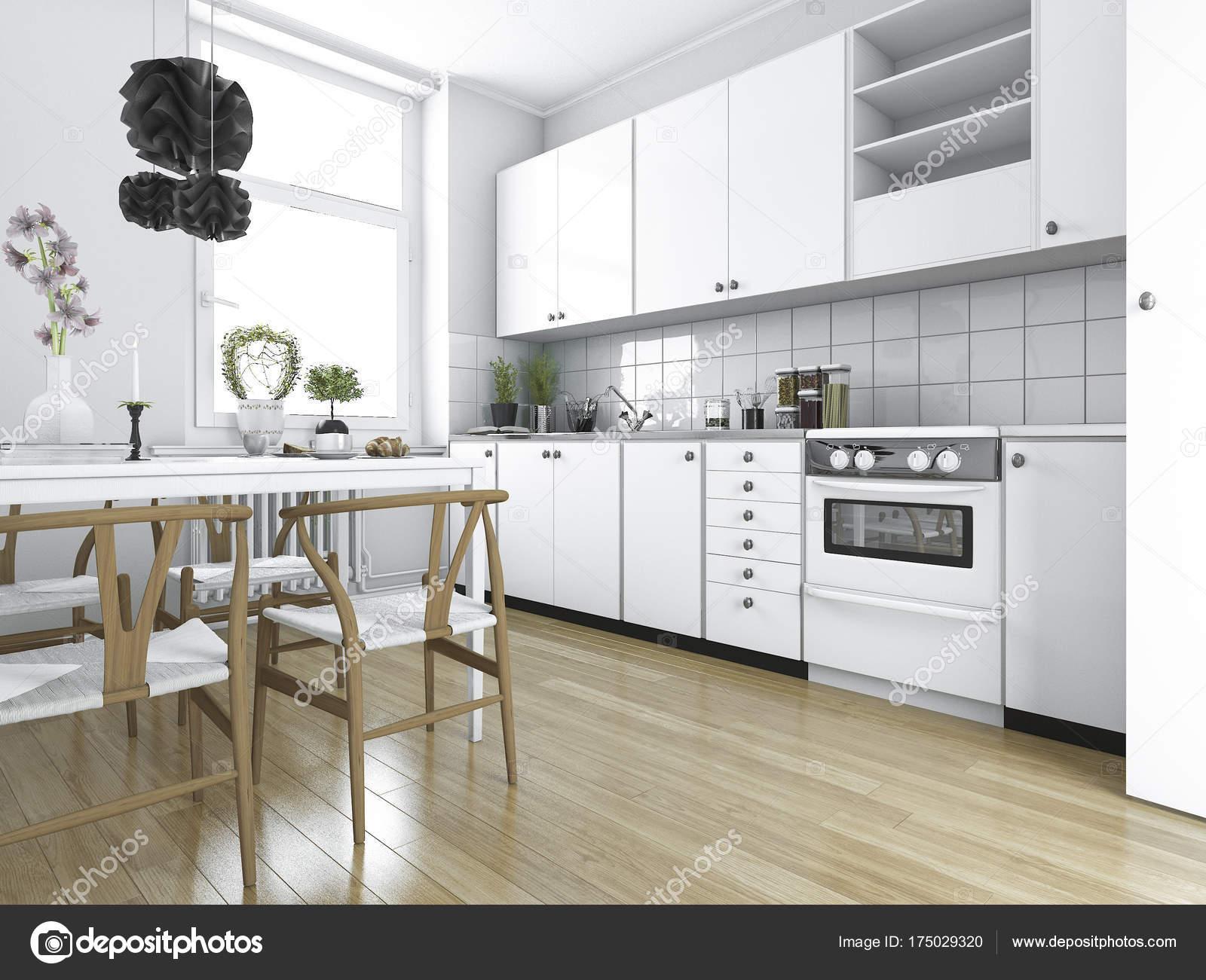 Erstaunlich Esstisch Küche Beste Wahl 3d Rendering Skandinavische Vintage Küche Mit —