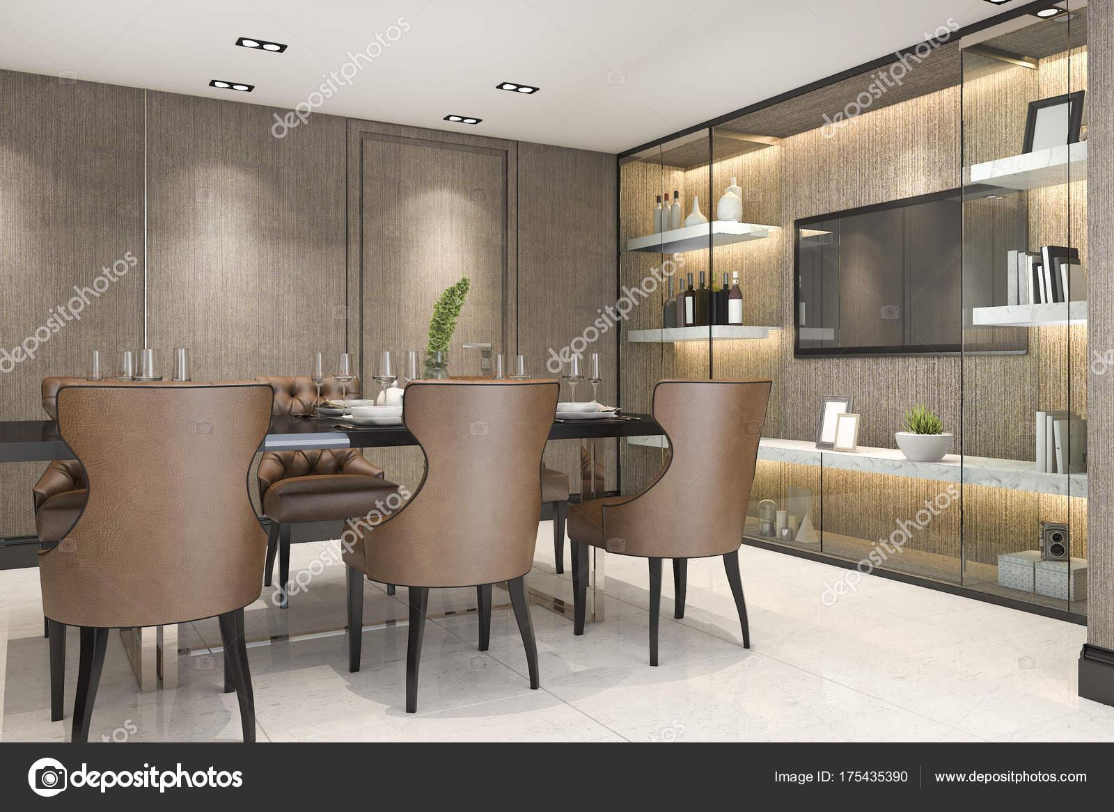 Luxe Eetkamer Set.Rendering Dining Set Modern Luxury Brown Dining Room Stock Photo