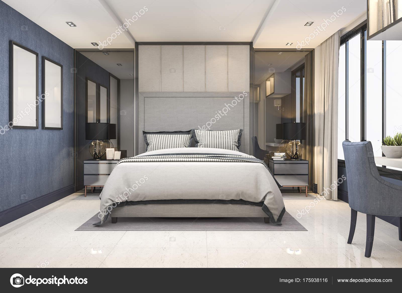 . Rendering Blue Modern Luxury Bedroom Suite Hotel Decor   Stock Photo