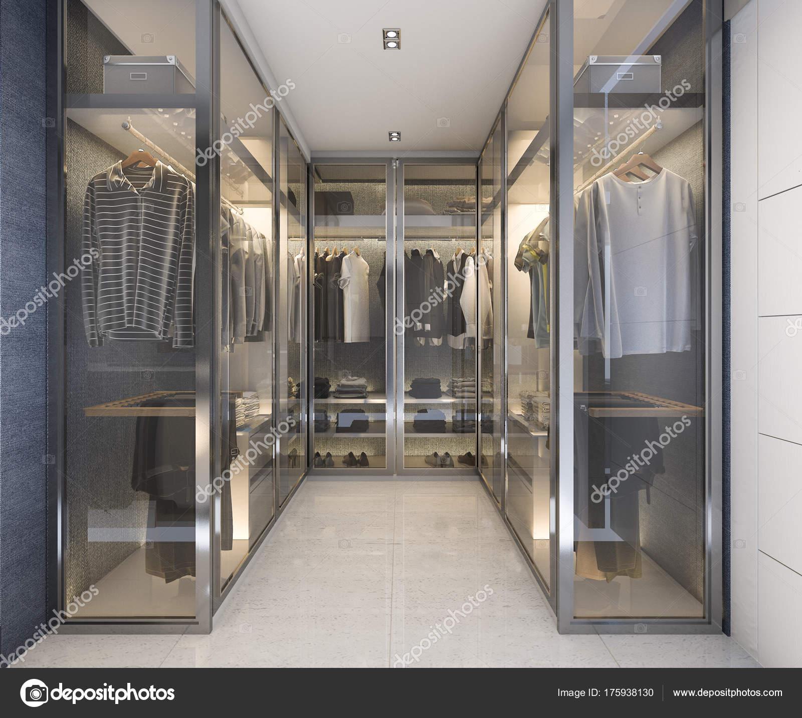 vetro lusso moderno rendering cabina armadio con decori blu — foto