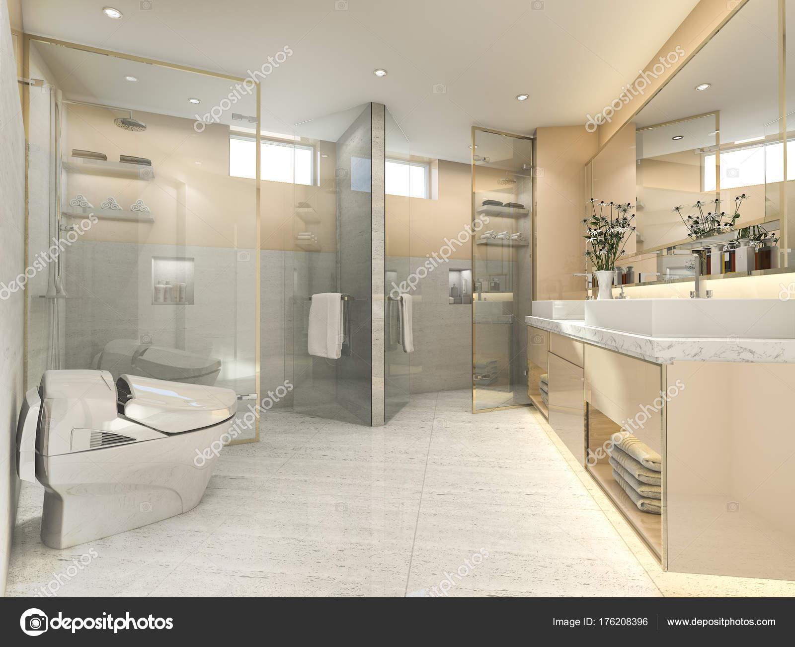Render Crema Vintage Cuarto Baño Moderno Con Una Decoración Azulejo ...