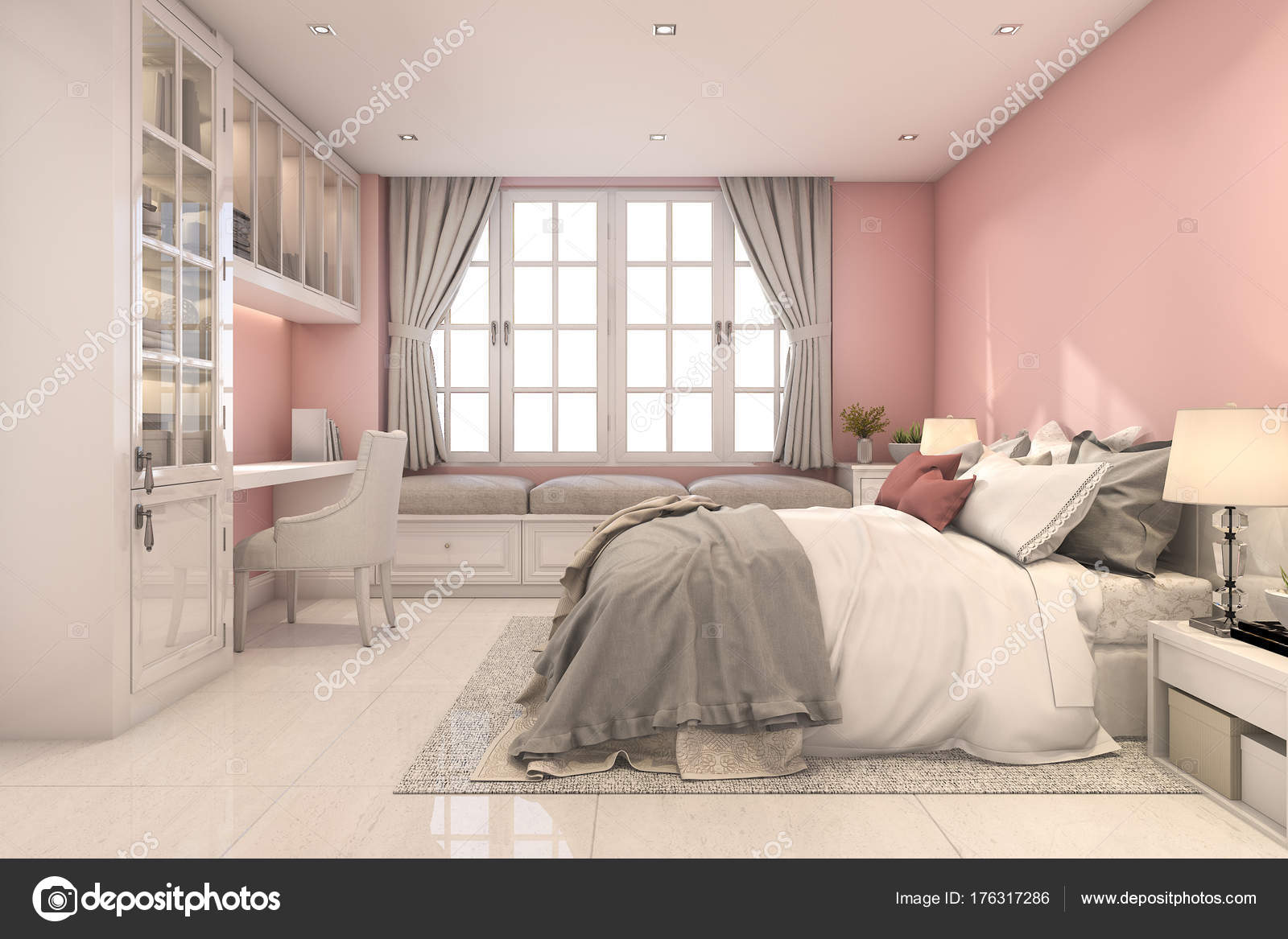 Rendering Camera Letto Bellissima Bambina Rosa Vintage — Foto Stock ...
