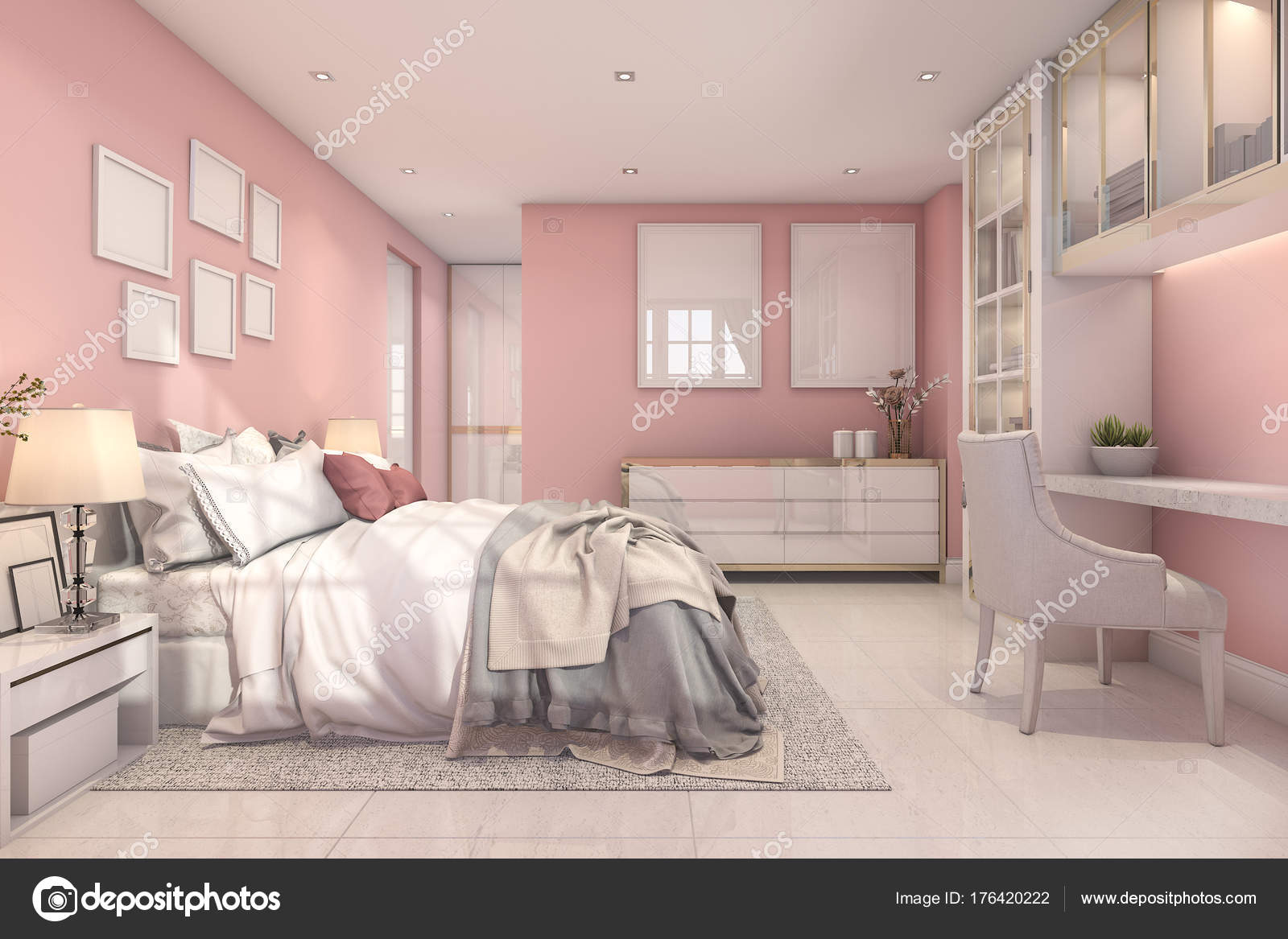 Rendering Camera Letto Bellissima Bambina Rosa Vintage ...