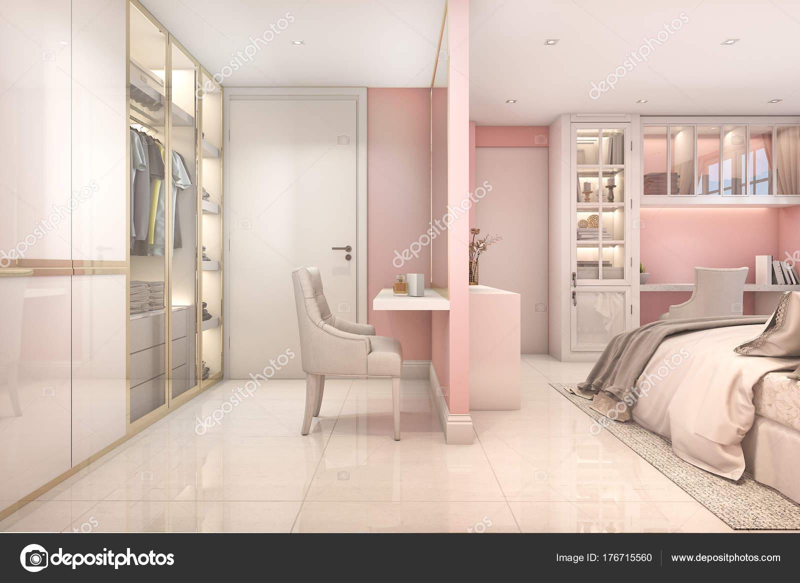 3D Rendu Confortable Rose Pastel Scandinave Enfant Chambre à Coucher Avec  Garde Robeu2013 Images De Stock Libres De Droits