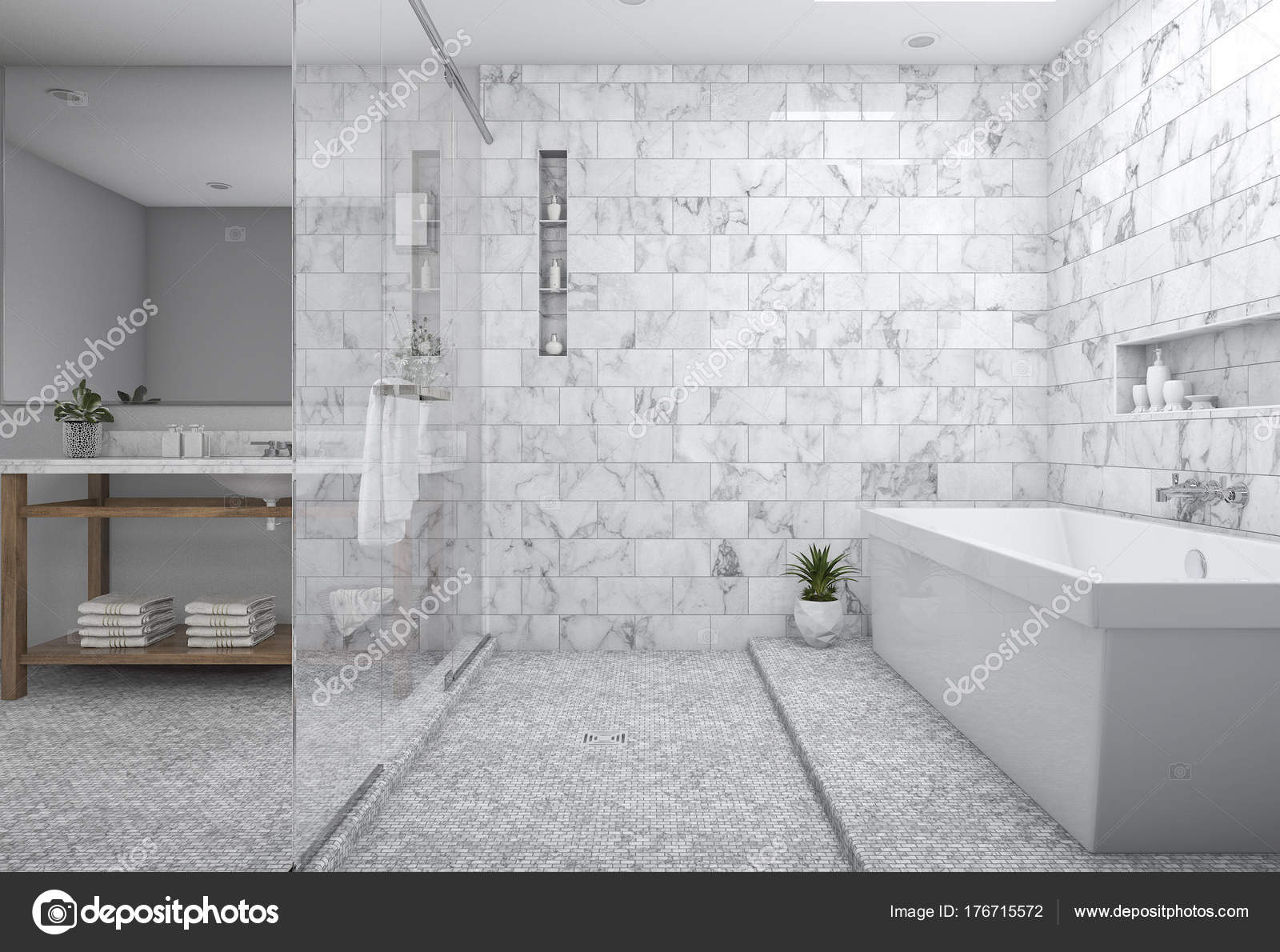 Interieur Natuur Badkamer : Rendering moderne minimale badkamer met een scandinavische