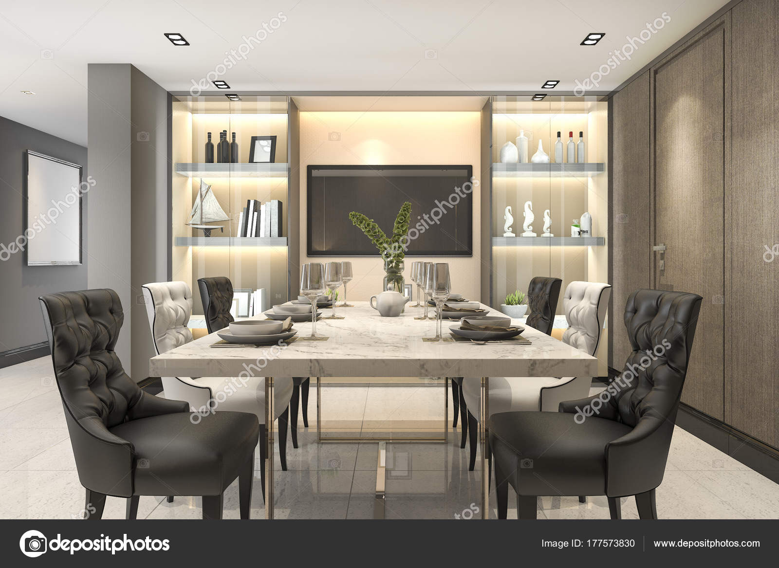 Salle À Manger Luxe rendering dining set modern luxury brown dining room — stock