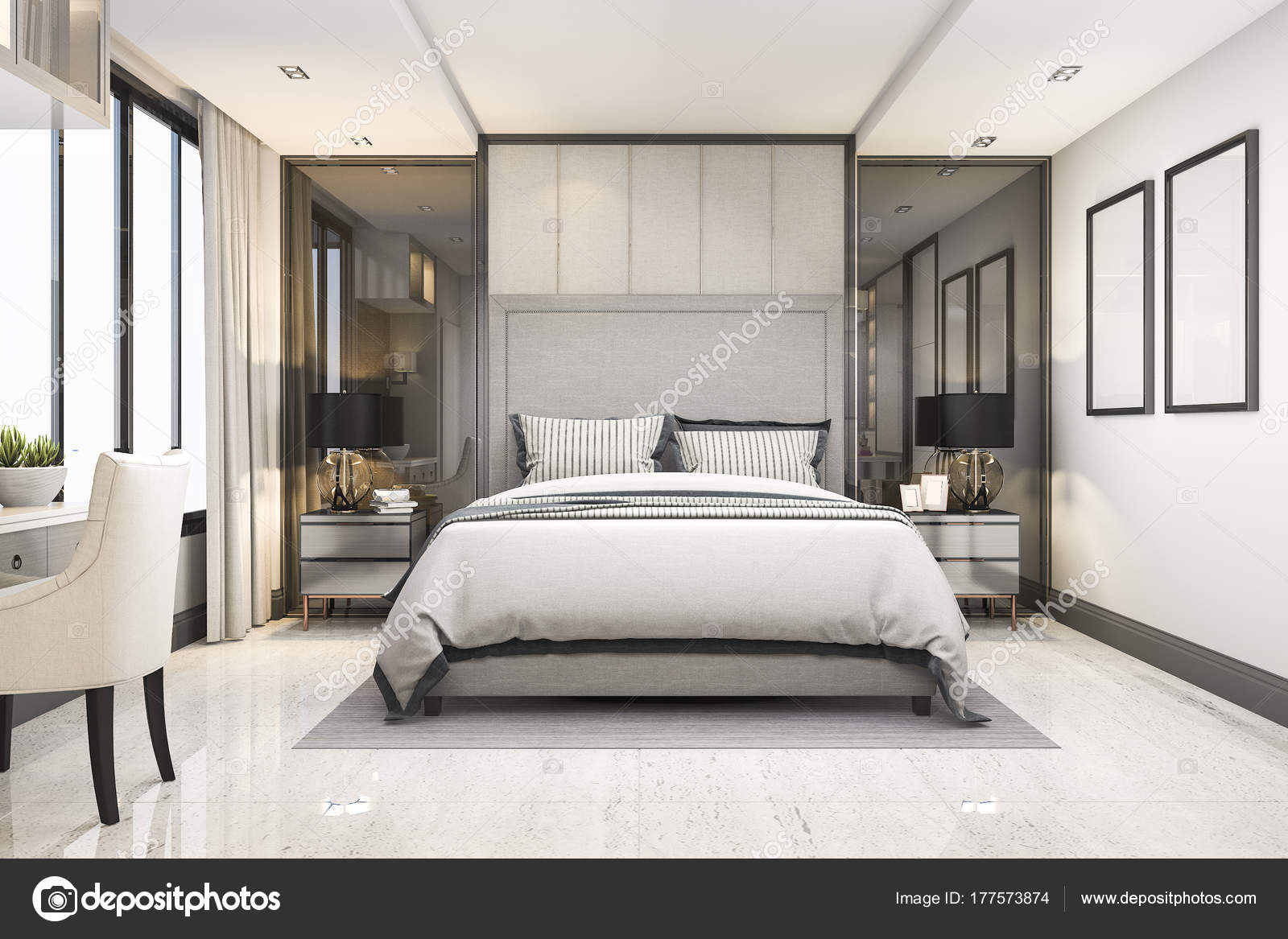 Rendering White Modern Luxury Bedroom Suite Hotel Decor — Stock ...