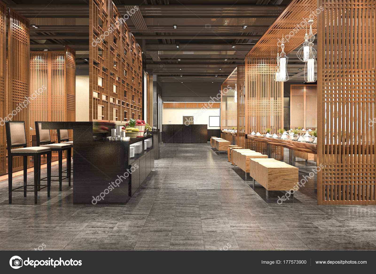 Rendering Loft Und Luxus Hotel Rezeption Holz Café Lounge Restaurant ...