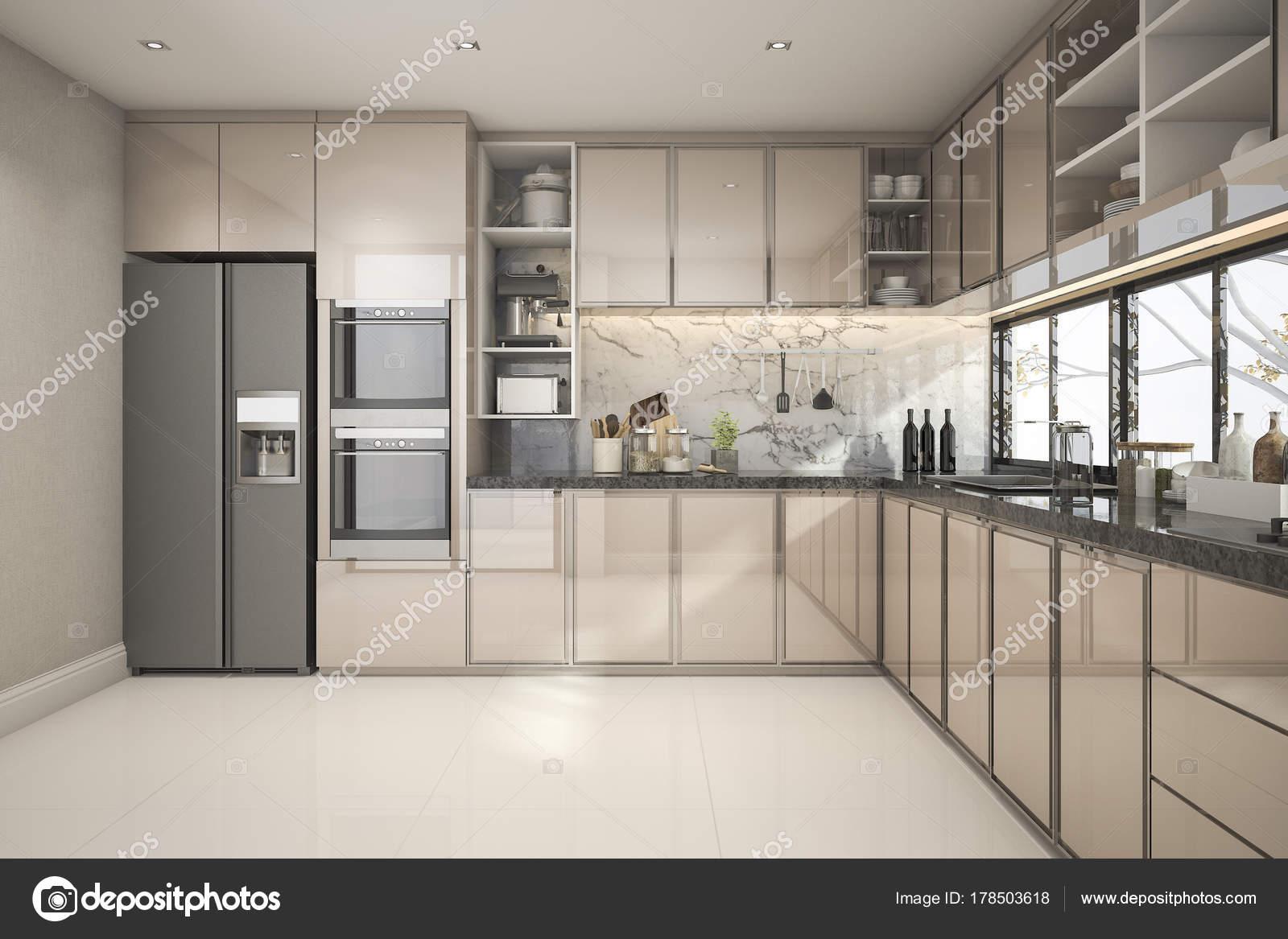 Moderne Keuken Inrichting : Rendering van prachtige moderne keuken met marmeren inrichting