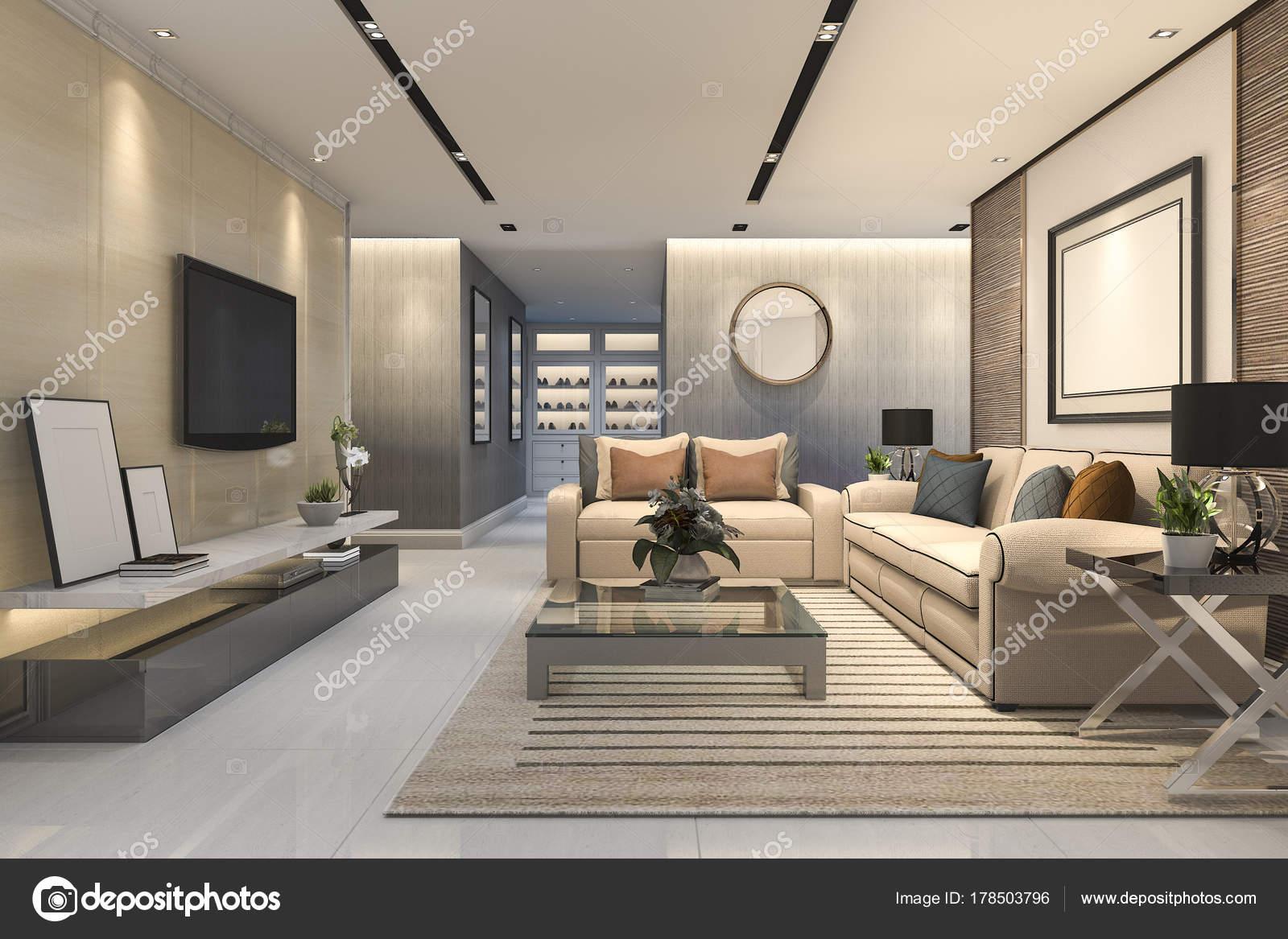 Elegant Luxe De Rendu 3D Et Moderne Salle De Séjour Avec Canapé En Cuiru2013 Images De  Stock Libres De Droits