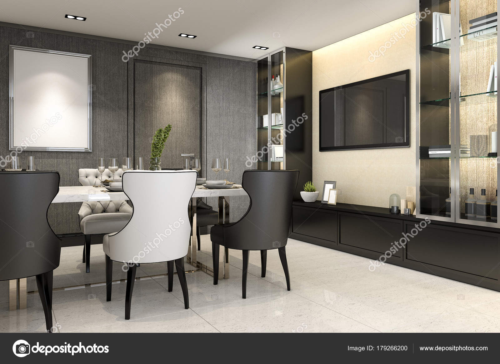 Rendering Dining Room Console Set Decor — Stock Photo ...