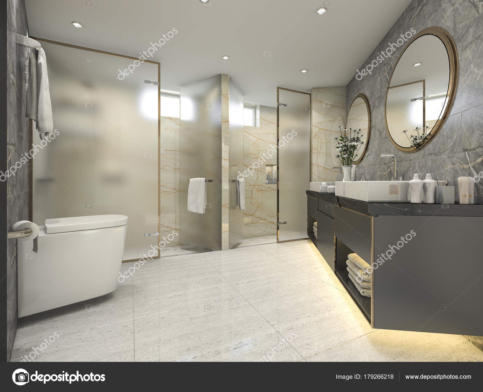 Cuartos de baño lujosos | Render Negro Cuarto Baño Moderno Con Lujo ...