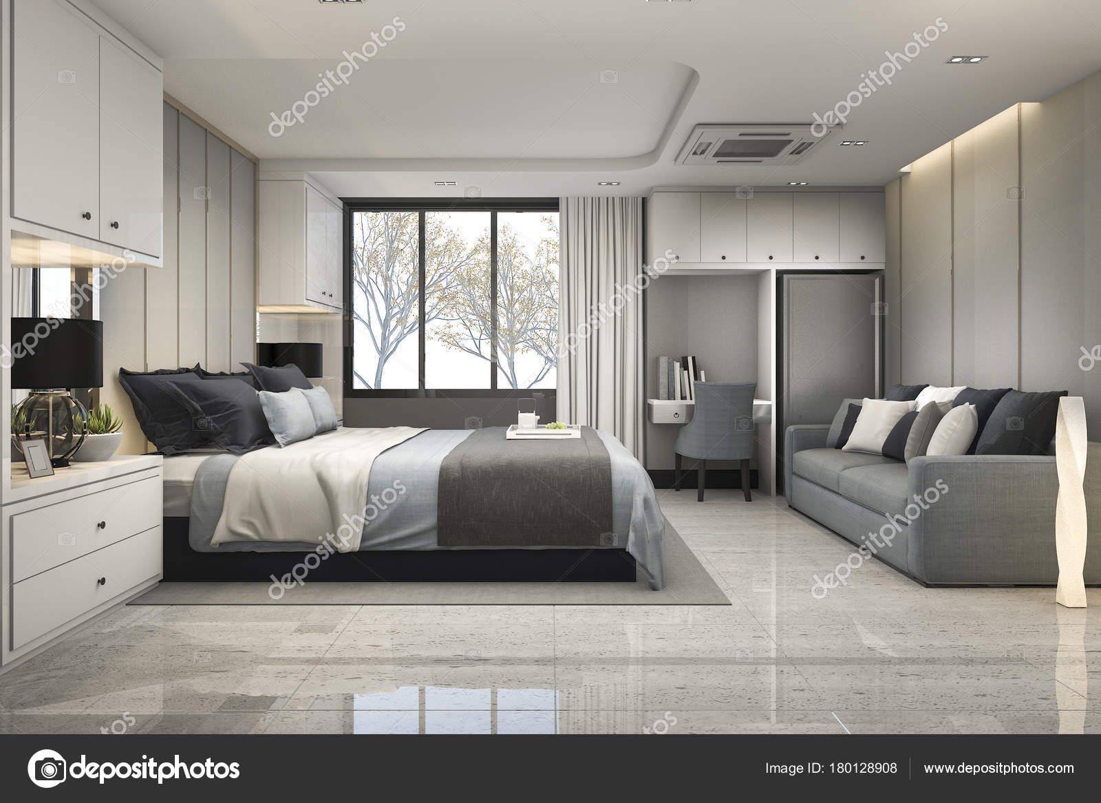 Chambre Luxe Moderne Bleu Rendu Avec Décor Marbre — Photographie ...