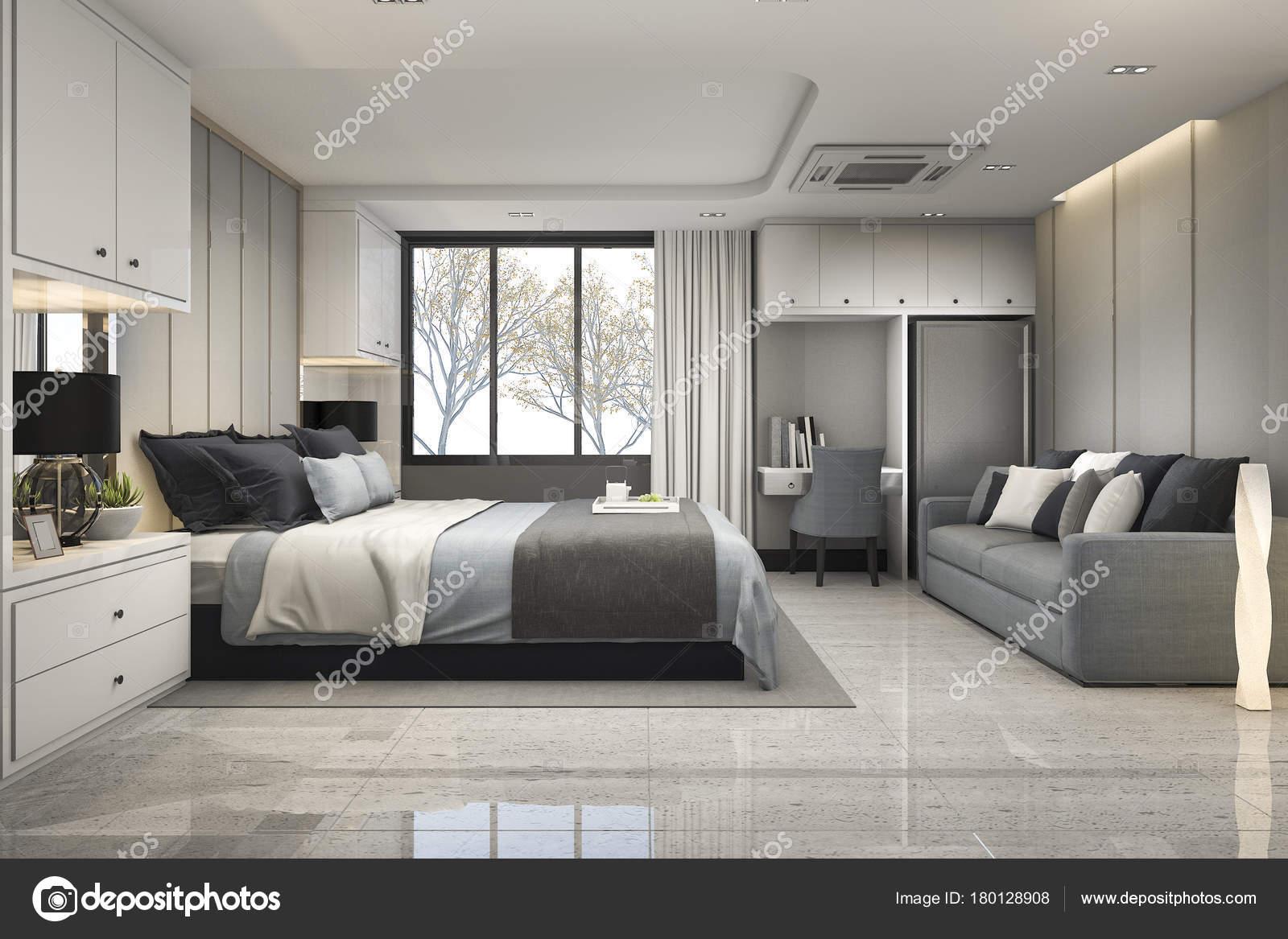 Chambre De Luxe Moderne Bleu Rendu 3D Avec Un Décor En Marbreu2013 Images De  Stock Libres De Droits