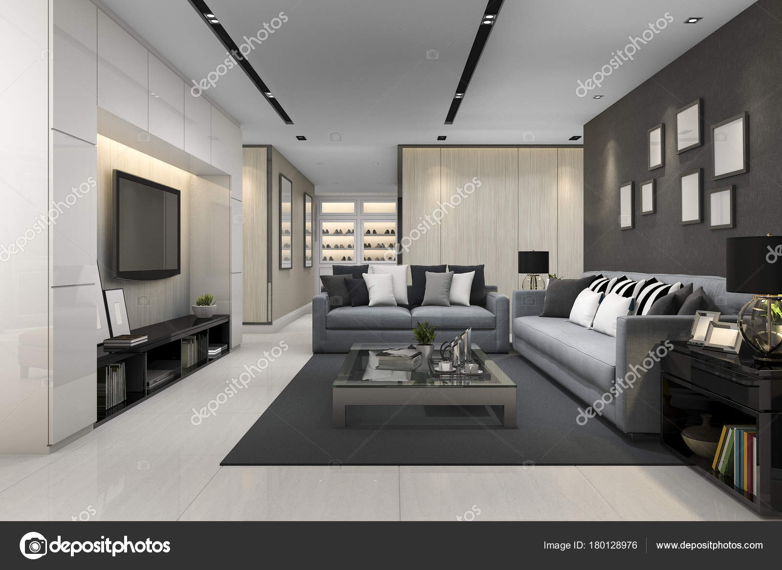 Blue Sofa Modern Grey Living Room Stock Photo Image By Dit26978 180128976