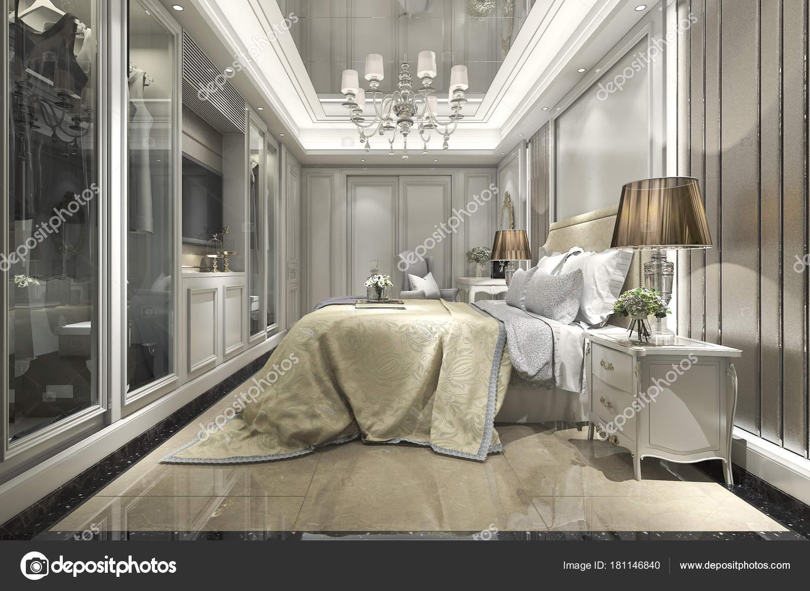 Rendu Luxe Moderne Classique Chambre Avec Dressing — Photographie ...