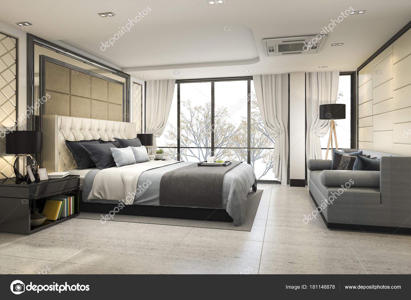 Rendu Moderne Classique Chambre Luxe Avec Décor Marbre ...